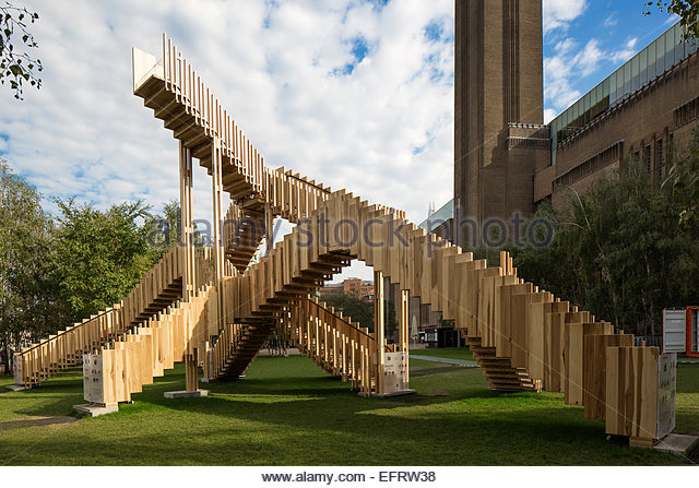 London Design Festival 2013, London, United Kingdom. Architect: Various Architects, 2013. The Endless Stair in front - Stock Image