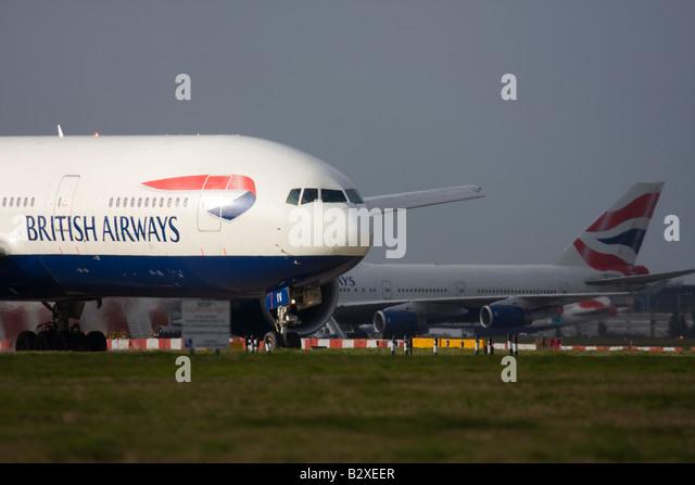 British Airways Boeing 777-236/ER at London Heathrow Airport - Stock Image