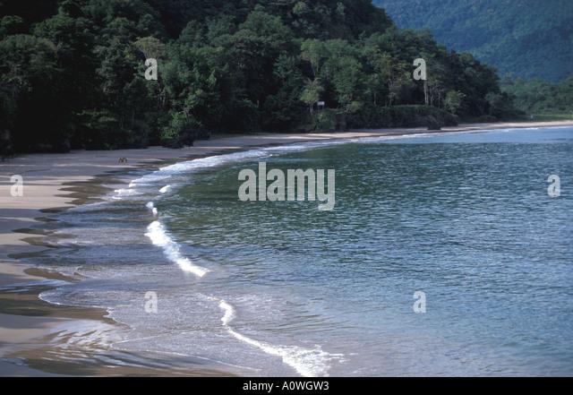Tropics Couple alone on beach - Stock Image