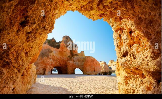 The cave on the Prainha Beach near Alvor, Algarve, Portugal - Stock Image