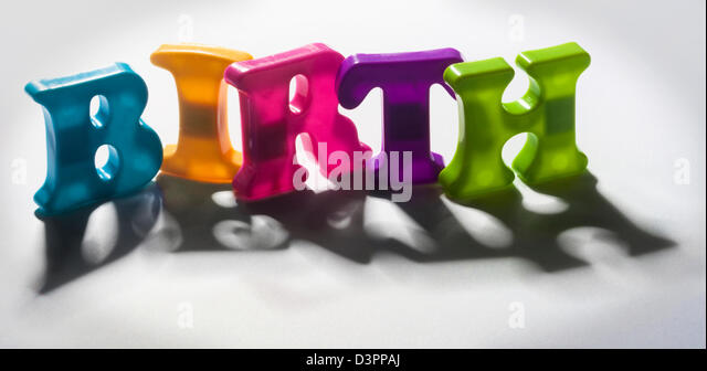 Shadow words - Birth/death - Stock Image
