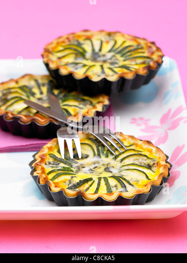 Courgette and roquefort tartlet - Stock Image