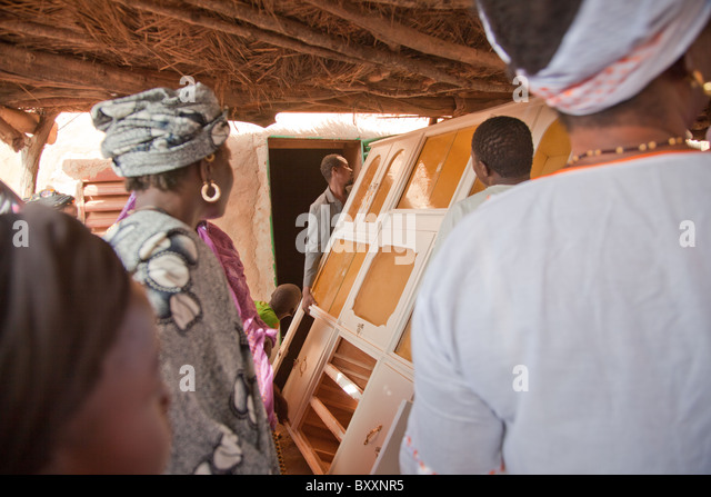 In Burkina Faso, a Fulani wedding has taken place. On the day of the 'bantule,' friends/family move furniture - Stock-Bilder