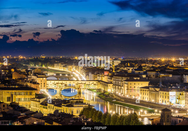 Evening light over beautiful Florence, capital of Tuscany, Italy - Stock-Bilder