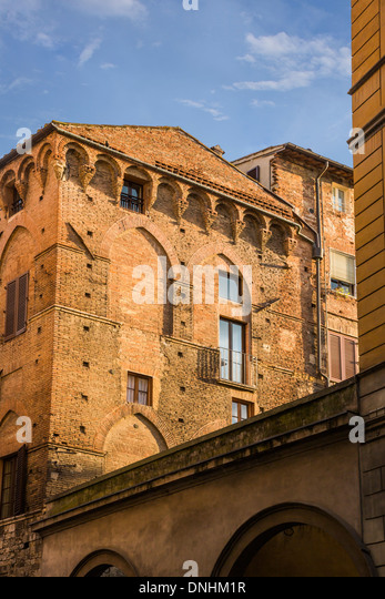 Low angle view of a historical building, Siena, Siena Province, Tuscany, Italy - Stock-Bilder