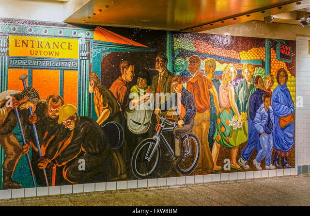 Mural  at Times Square, Subway, New York City - Stock Image