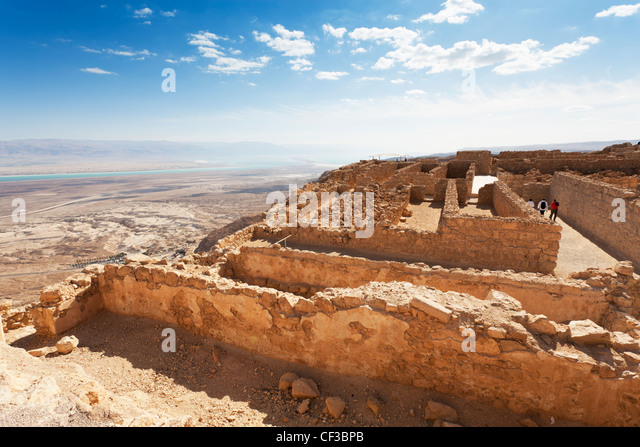 Israel, Masada fortress, the storerooms and surrounding desert - Stock Image