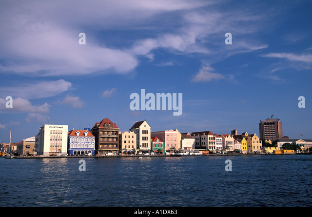 Curacao Netherlands Antilles Caribbean West Indies Willemstad Waterfront - Stock Image