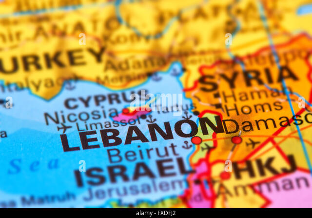 Lebanon, Country in the Middle East on the World Map - Stock Image