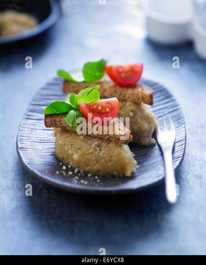 Eggplant caviar with Espelette peppers - Stock Image