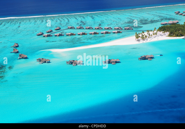 Aerial view of resort, Maldives, Indian Ocean, Asia - Stock-Bilder