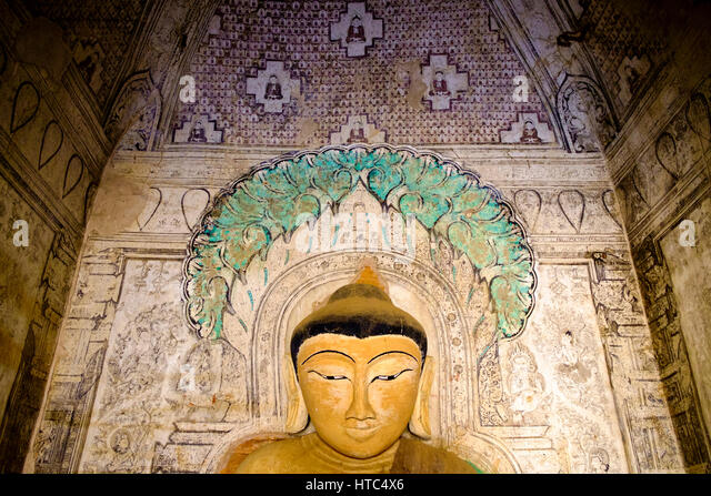 Buddhist temple painting stock photos buddhist temple for Buddha mural art