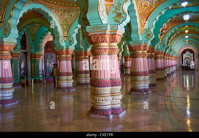 Interior, Maharaja's Palace, Mysore, Karnataka, India, Asia - Stock-Bilder