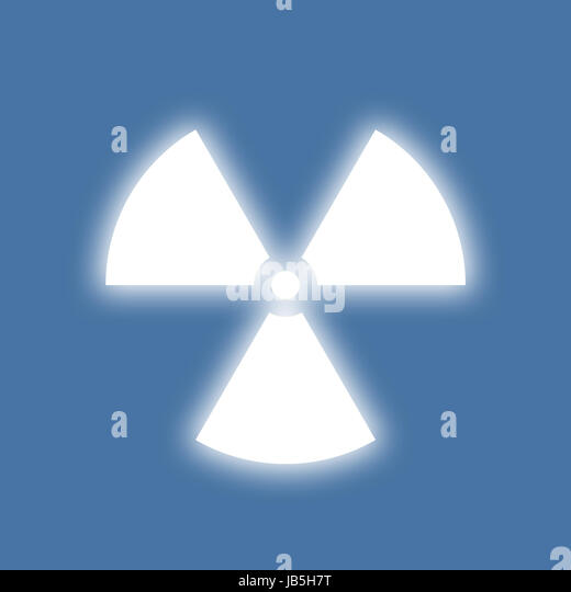 Nuclear radiation symbol on a blue background. Simple Flat design. - Stock Image