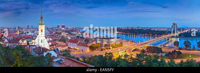 Panoramic image of Bratislava, the capital city of Slovak Republic. - Stock Image