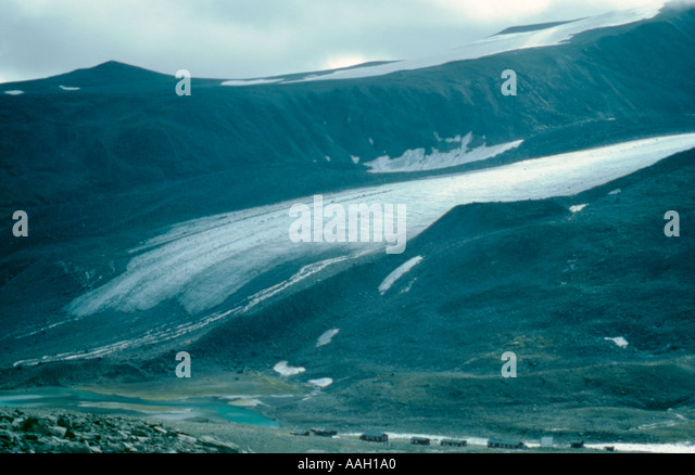 Storglacier (Grand Glacier) and Tarfala Research Station, Kebnekaise, Lappland, Norrbottens Län, arctic Sweden - Stock Image