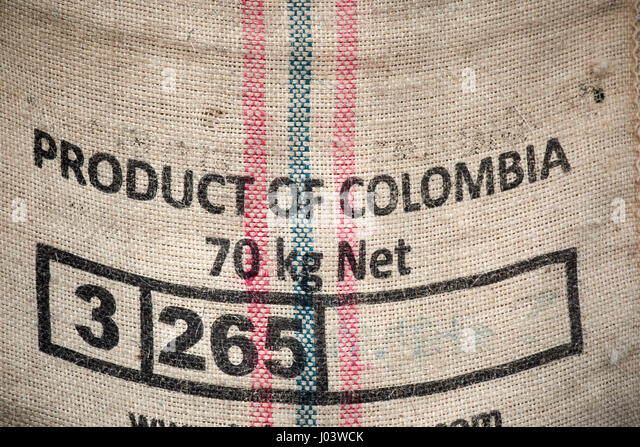 product of colombia hessian coffee bean sack UK - Stock Image