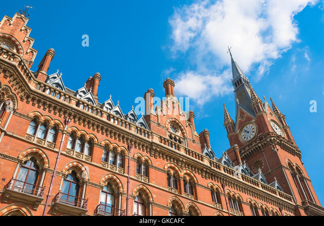 Victorian architecture, London, detail of the Victorian Gothic style St Pancras Hotel at King's Cross, London,UK. - Stock Image