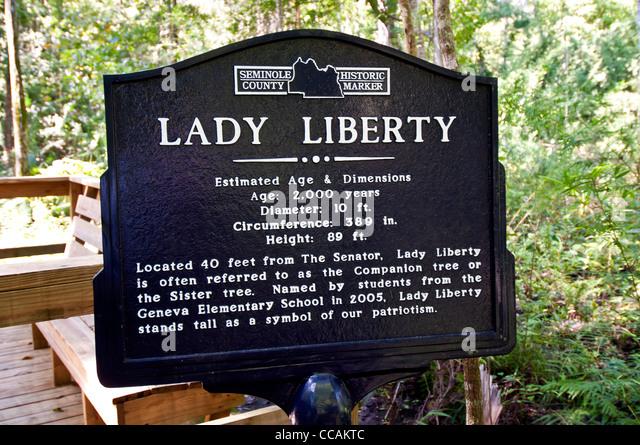 Lady Liberty tree sign for 2000-year-old Florida Champion bald cypress tree, Big Tree Park  Longwood, Florida - Stock Image