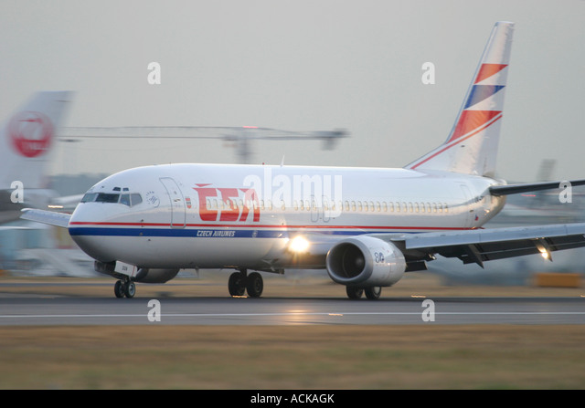 CSA Czech Airlines Boeing 737-45S after landing at London Heathrow Airport England UK - Stock Image