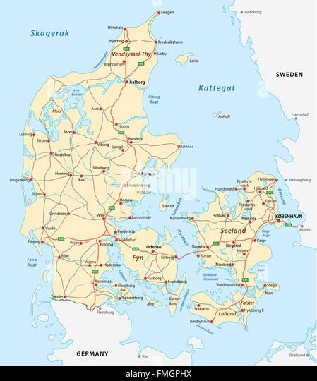 denmark road map - Stock Image
