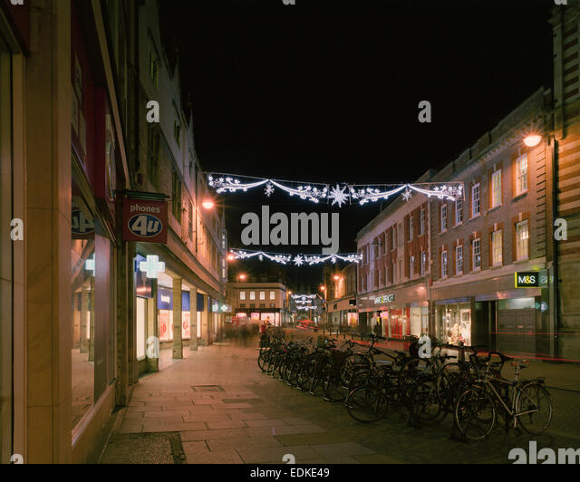 Sidney Street Cambridge with Christmas illuminations - Stock Image