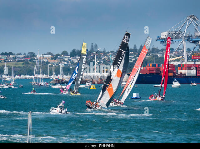 Auckland, New Zealand. 14th Mar, 2015. The all female Team SCA leads Team Brunei and the rest of the fleet in the - Stock Image
