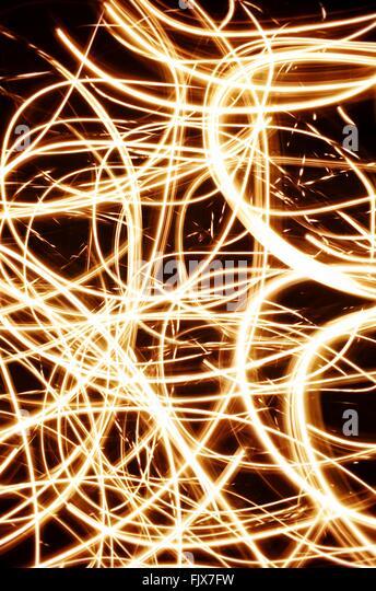 Full Frame Shot Of Light Paintings At Night - Stock Image