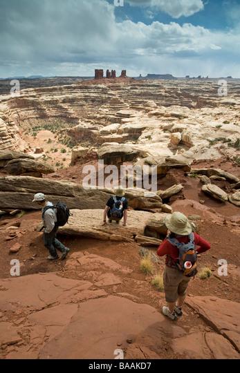 Hikers in Canyonlands National Park, Utah. - Stock Image
