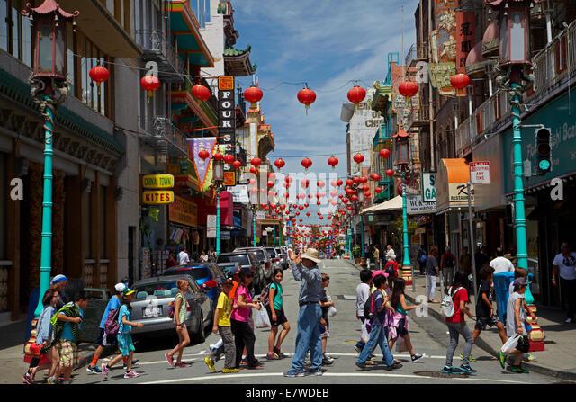 Grant Avenue, Chinatown, San Francisco, California, USA - Stock Image