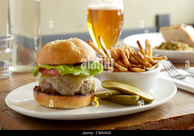 Burger and fries - Stock Image