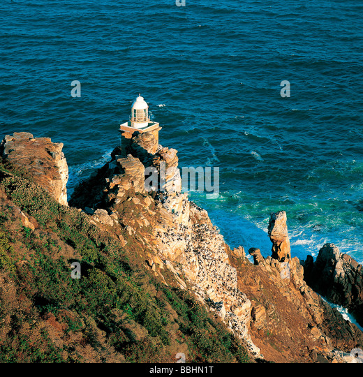 THE POWERFUL MODERN LIGHTHOUSE CAN BE REACHED VIA A STEEP ZIGZAG PATH - Stock Image