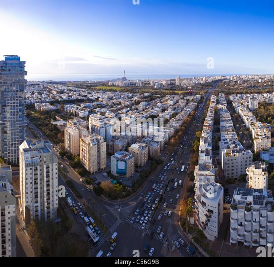 Tel Aviv skyline at sunset / Aerial view of Tel Aviv - Stock Image