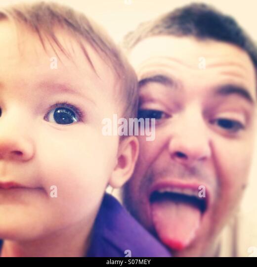 Father and daughter selfie - Stock-Bilder