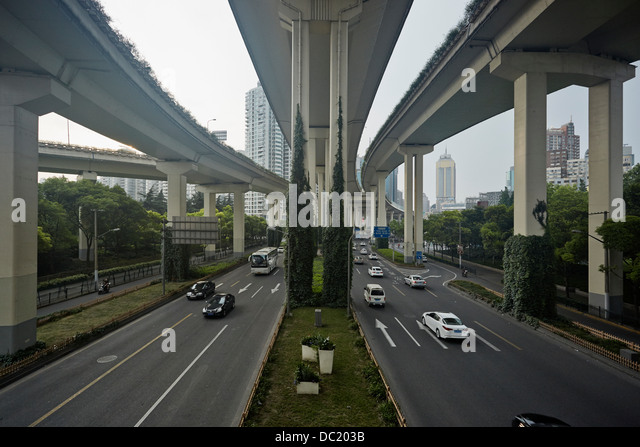 High angle view of traffic under flyover, Shanghai, China - Stock-Bilder