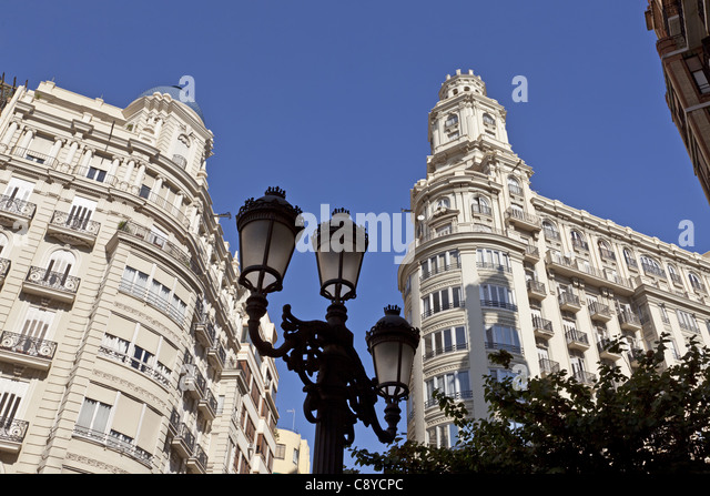 Modernisme buildling in old city center of Valencia, Spain - Stock Image