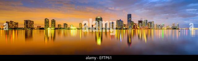 Miami, Florida, USA city skyline panorama. - Stock Image