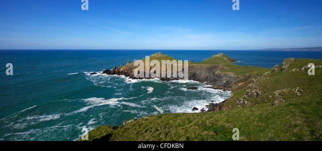 Views of Atlantic surf at Rumps Point, Pentire Headland, North Cornwall, England, United Kingdom, Europe - Stock Image