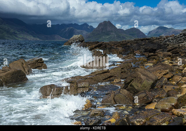 The Cuillin mountains viewed across Loch Scavaig from Elgol on the Isle of Skye, Scotland - Stock Image