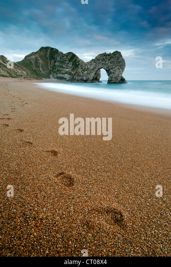 View of Durdle Door and the Jurassic Coast, Dorset. - Stock-Bilder
