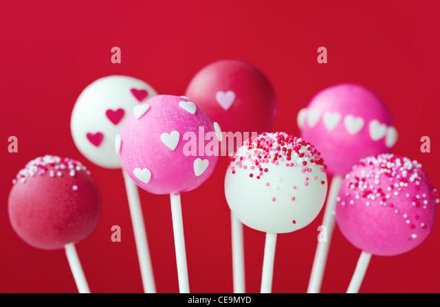 Valentine cake pops - Stock-Bilder