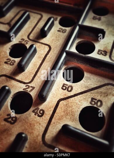 Wooden labyrinth game - Stock-Bilder