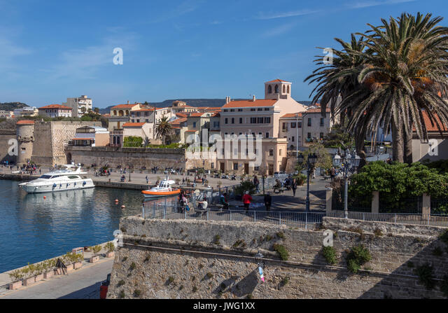 The port of Alghero in the province of Sassari on the northwest coast of the island of Sardinia, Italy. - Stock Image