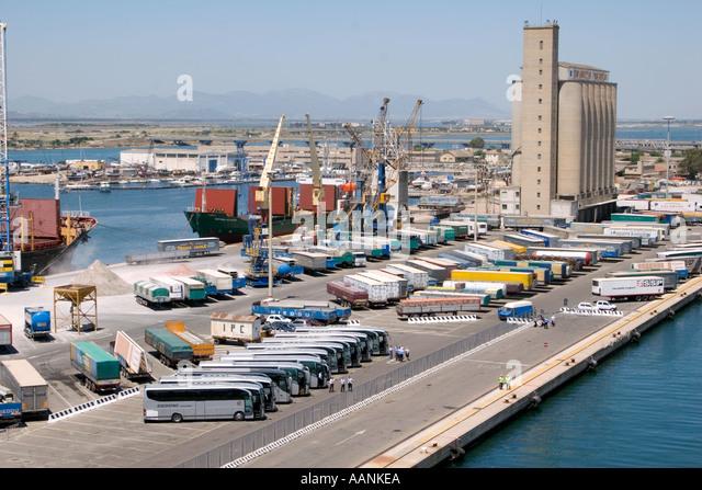 Tour Busses waiting at Cagliari Harbour, Sardinia, - Stock Image