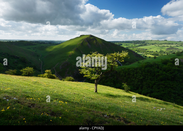 View towards Thorpe Cloud at Dovedale. Peak District National Park. Derbyshire. England. UK. - Stock Image