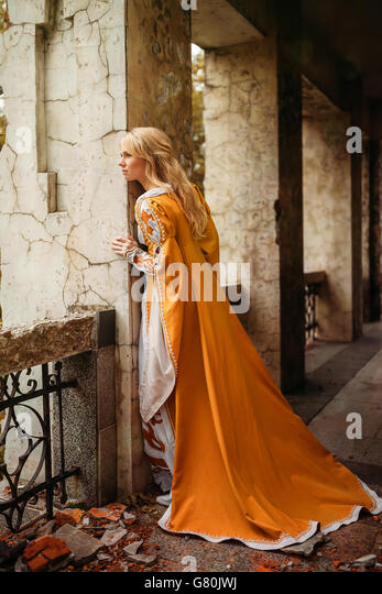 Woman in medieval dress - Stock Image
