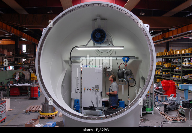 Production af a wind power generator in a factory of the Leitner Group, Italy - Stock Image