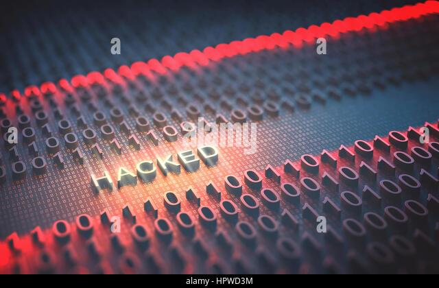 Hacked binary code, illustration. - Stock-Bilder