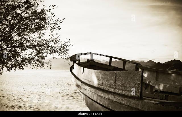 Indonesia, Lombock, Gili-Trawangan, View of ship wreck on beach - Stock Image