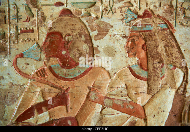 Detail from tomb, El Kab temple, Egypt, North Africa, Africa - Stock Image